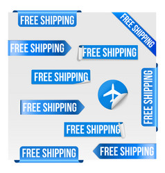 Free shipping blue label design vector