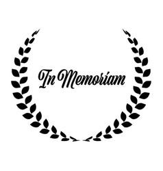 Funeral wreath with in memoriam label rest in vector