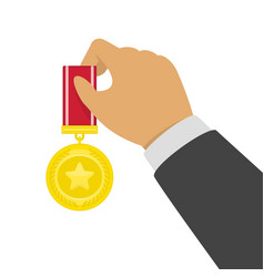 gold medal in hand vector image