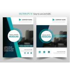 Green circle annual report brochure flyer design vector