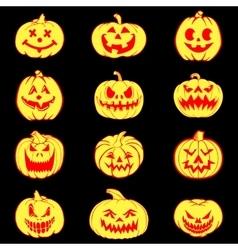 Halloween set with pumpkins vector image