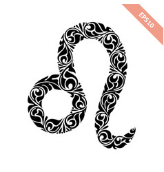 Hand drawn black ornate horoscope symbol - leo vector
