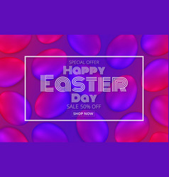 Happy easter day promotion banner vector