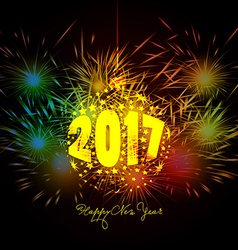 Happy New Year ball and Fireworks colorful vector