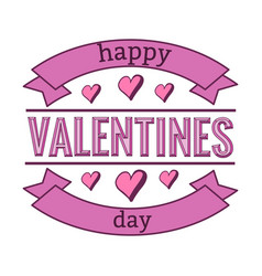 happy valentines day with ribbons and hearts vector image