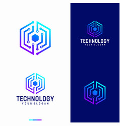 hexagonal technology logo designs template vector image