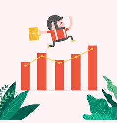 hipster businessman jump over growing chart vector image