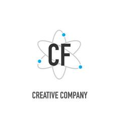 Initial letter cf atom neutron design logo vector