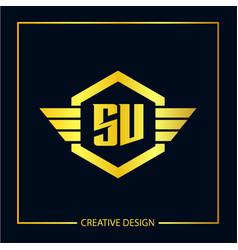Initial letter sv logo template design vector