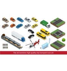 Isometric high quality city transport icon set vector image
