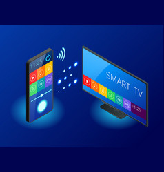 isometric smart tv is controlled a smartphone vector image