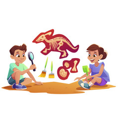 Kids playing in archaeologists working excavations vector
