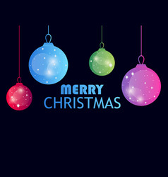 merry christmas hanging christmas balls on black vector image