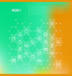 money concept in honeycombs vector image