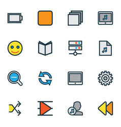 Multimedia icons colored line set with playlist vector