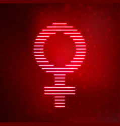 Neon icon symbol female gender vector