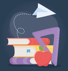 Online education books triangle ruler apple class vector