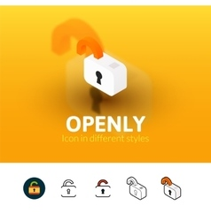 Open lock icon in different style vector