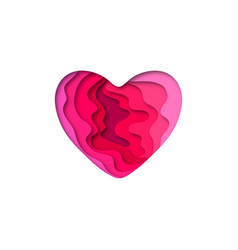 Paper cut heart shape 3d design vector