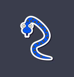 Paper sticker on stylish background kids toy snake vector