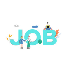 people near huge job letters concept vector image