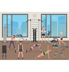 People training in gym Fitness sport place Man vector image