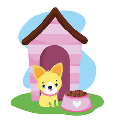 pet shop little puppy house and bowl with food vector image