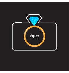 Photo camera with gold wedding ring lens Diamond vector image