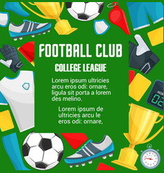 poster for soccer college league club vector image vector image