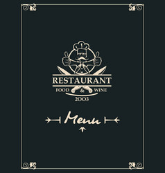 restaurant menu with kitchenware and chef vector image