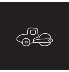 Road roller sketch icon vector image