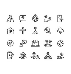 route line icons gps navigation and tracking vector image
