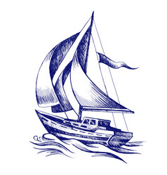 sailing boat with a flag vector image