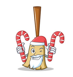 santa with candy broom character cartoon style vector image