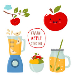 Set funny kawaii apple with a blender smoothie vector