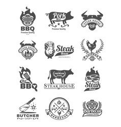 set grill and barbecue badges stickers emblems vector image