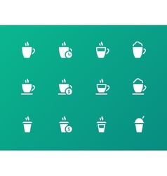 set of coffee cup on green background icons vector image