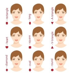 Set of different woman face shapes 5 vector