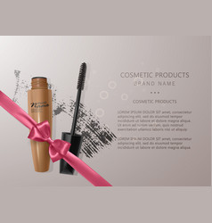 set of realistic mascara and brush stroke beauty vector image
