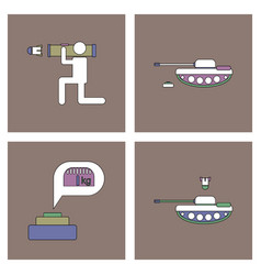 Set of war equipments in color backgroungs vector