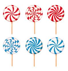 Set striped peppermint candies caramel vector