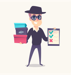 Smiling man as mystery shopper in mask and spy hat vector