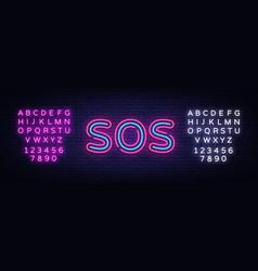 Sos neon text design template sos neon vector