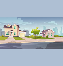 suburban houses cottage with garage vector image