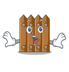 surprised cartoon wooden fence over the grass vector image