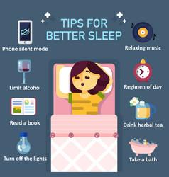 Tips for better sleep flat infographics vector