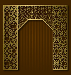 Traditional background golden arched frame vector