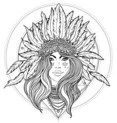 Tribal fusion boho diva black and white vector
