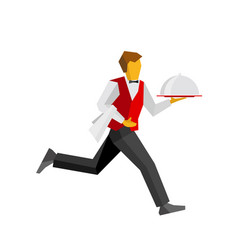 waiter in black and red running with tray vector image