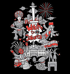 welcome to jakarta cartoon vector image
